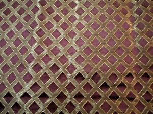 Fabric Robert Allen Beacon Hill Lattice Sheen Madeira Burgundy Silk Drapery *J14