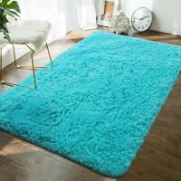 80x120cm Ultra Soft Modern Area Rugs Fluffy Carpets  for Children Bedroom Blue