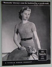 Original Vintage 1930 S 1940 s Knitting Pattern Femme Lacy Sweater Viyella House