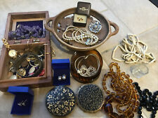 Job Lot Old Vintage Costume Jewellery Box Contents Collection. Bundle Silver 925