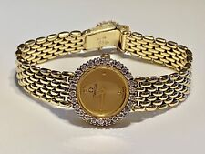Vintage Omega Solid 14K Gold & Diamond Watch Quartz Mesh Bracelet 0.65 ct Retro