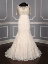 Allure Bridal C341 Ivory Silver Beading Lace Trumpet Short Sleeve Wedding Dress