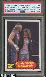 1985 O-PEE-CHEE OPC WWF Pro Wrestling Stars #63 Randy Savage & Elizabeth PSA 8