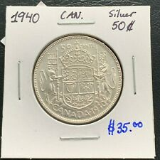 CANADA 1940 SILVER 50 CENTS IN AU/UNC GRADE! NICE COIN! TRENDS $35 LOT #071