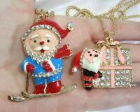Lot of 2 Cute Enamel Santa Claus Christmas Pendant Necklaces Sparkly Rhinestones