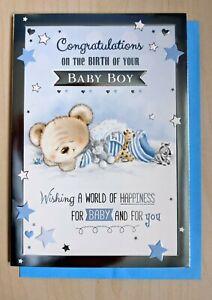 Birth of New Born Baby Boy Card - Sleeping Teddy Blue Congratulations 94b