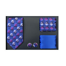 New formal Men skinny necktie 2 hankies cuff links gift set blue gray pattern