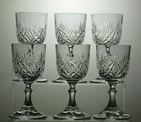 "ROYAL ALBERT CRYSTAL CUT GLASS SMALL WINE /SHERRY GLASSES SET OF 6 - 5 1/3"" TALL"