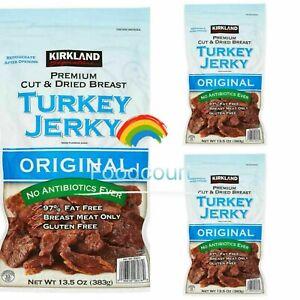3 Packs Kirkland Signature Original Premium Breast Turkey Jerky 13.5 OZ Each
