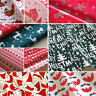 Christmas Fabric Polycotton Half Metre Reindeer Holly Trees Green Red Bundles
