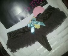 *La Senza~Mesh & Satin Skirt Thong~Chocolate/Aqua~Size 8*