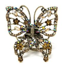 New Summer Brown Crystal high quality Metal Large Butterfly Hair Claw Clip Pin
