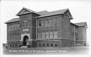H34/ Hobart Oklahoma RPPC Postcard 1942 Eugene Field School Building