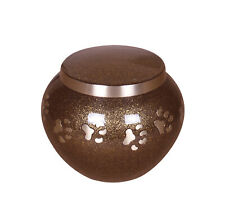Pet Ashes Urn Dog Cat Cremation Funeral Memorial Round Brown Pet Urn 2 Sizes
