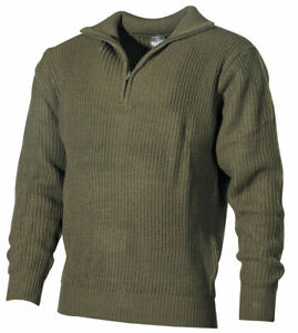 BW Isländer Pullover Troyer Arbeitspullover oliv Strick Arbeitstroyer S-XXXL