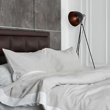 Washed European Flax Linen Blend Duvet Cover Set - Grey and White - Soft Fabric