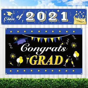 Graduation Decorations Class of 2021 Banners Large Congrats Grad Banner 2 Packs