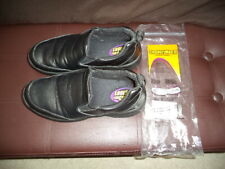 MENS SHOES FOR CREWS SLIP & OIL RESISTANT WORK BLACK LEATHER WORK SHOES LOAFERS