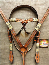Western Horse Headstall Breast Collar Set Tack American Leather Tan U--SET