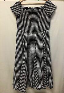 Roman Ladies Dress Black Gingham Bardot Fit and Flare Cotton Mix Size 16 (.003)