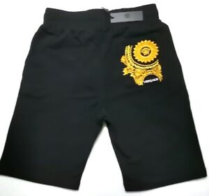 NEW MENS VERSACE BLACK EMBROIDERED SWEAT SHORTS