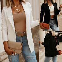 Womens Blazer Work OL sexy Tops Coat Slim Outwear Ladies Plus Size Jacket