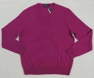 $350 Men Polo Ralph Lauren Blue Label 100% Cashmere V neck Purple Sweater S M L