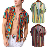 Fashion Men's Summer Casual Striped Shirt Floral Short Sleeve T Shirts Tops Tee
