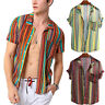 Mens Striped Short Sleeve Shirt Tops Causal Slim Fit Summer Lightweight T-Shirts