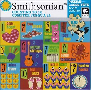 """Jigsaw Puzzle SMITHSONIAN SERIES - COUNTING TO 12  Learning 100 Pcs 8"""" x 10"""""""