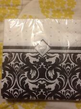 Creative Converting Ever After Damask Black White Wedding Beverage Napkins 16ct.