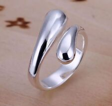 Silver tear Drop Ring Water Women Jewellery thumb droplet wrap Adjustable open