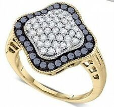 10K Yellow Gold Black & White Diamond Ring 1.0ct Diamond Cluster Band Big Look