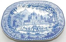 WALSH HERCULANEUM TRANSFERWARE 'COYSH COLLECTION' BLUE & WHITE PLATTER ELEPHANT
