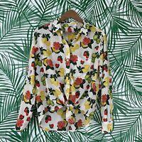 Equipment Femme Silk Citrus Fruit Rose Button Down Top Women's Size Small