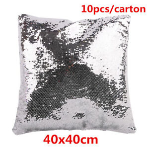10pc Square Sublimation Blank Reversible Sequin Magic Swipe Pillow Cover Case