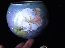 Superbe ART GLASS pot vase argent paillettes Inner COLOMBE & ANGELOTS appliqué bleu extérieur