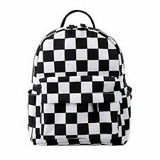Women's Small Backpack Polyester Mini Backpack Waterproof Shoulder Bag Checkered