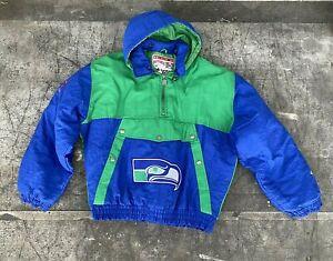 VTG Seattle Seahawks Puffer Pullover Jacket Spellout Logo Detachable Hood XL
