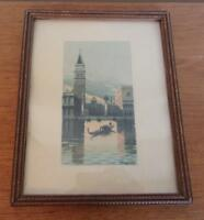 OLD ITALIAN WATERCOLOR PAINTING VENICE SIGNED G MOZZONI