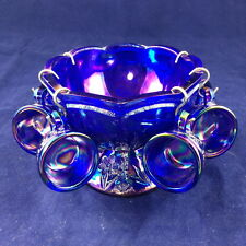 7-Piece, Blue Carnival Glass, Child's Punch Bowl & 6 Punch Cups (hooks included)