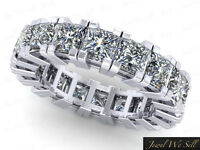 3.75Ct Princess Cut Diamond Gallery Eternity Band Ring Solid 14k Gold G-H I1