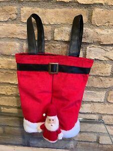 Pottery Barn Santa Pants Wine Bag Santa Wine Topper Christmas New