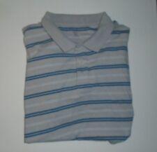Eddie Bauer Short Sleeves Polo Shirt Blue White Gray Stripes, Size XXL, Cotton