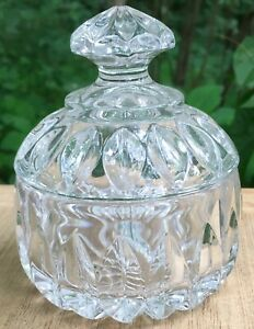 Small Crystal or pattern glass DRESSER TRINKET DISH with top lid