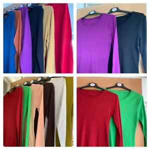 MARKS AND SPENCER Ladies long sleeve cotton T shirts - various colours and sizes