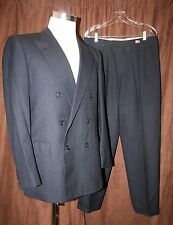 Belvest Italian Double Breasted Suit Wool Blue Pinstripe 50R 40R Pleated 32x30