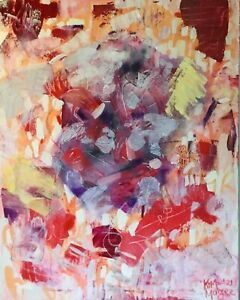 ABSTRACT Pink Red Orange Mood Painting Original  Canvas Art By Kim Magee