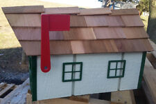 Amish Crafted Beige (Green Trim) Barn Style Mailbox - Lancaster County PA
