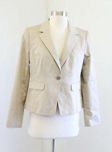 NWT Ann Taylor Womens Khaki Beige One Button Blazer Jacket Size 8P Career